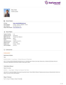 Oktay Erkek TEKNİK ELEMAN İletişim Bilgileri E-Posta