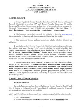 (sözleşmeli) pilot ilanı - Emniyet Genel Müdürlüğü