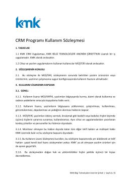 CRM Programı Kullanım Sözleşmesi
