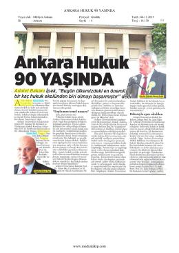 MİLLİYET ANKARA Ankara Hukuk 90 Yaşında