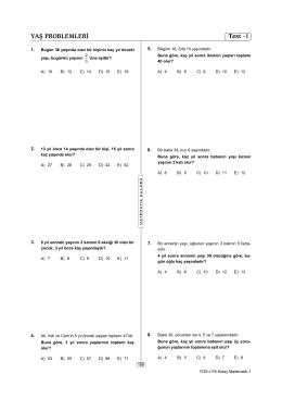 YAŞ PROBLEMLERİ Test -1