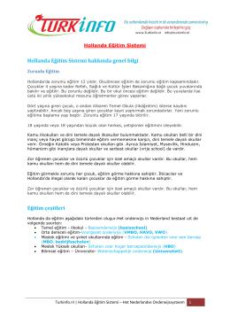 Hollanda Eğitim Sistemi kitapcığ - Turkinfo.nl Hollanda Türk Haber