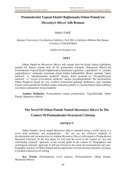 Postmodernist Yapısal Eleştiri Bağlamında Orhan Pamuk`un