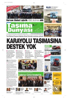 Taşıma Dünyası Gazetesi-210 PDF 30 Kasım 2015 tarihli sayısını