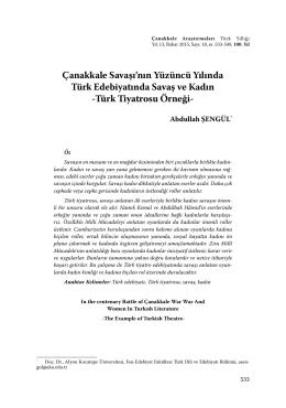 Türk Tiyatrosu Örneği - Çanakkale Araştırmaları