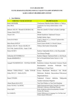 21-22 ARALIK 2015 ULUSLARARASI KATILIMLI SOSYAL YAŞAM