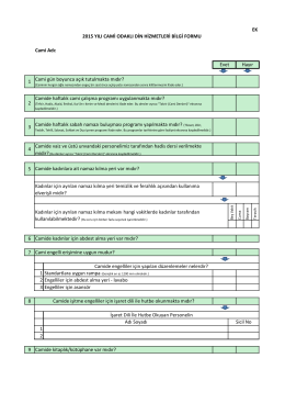 Cami Odaklı Din Hizmetleri Bilgi Formu PDF İndir.