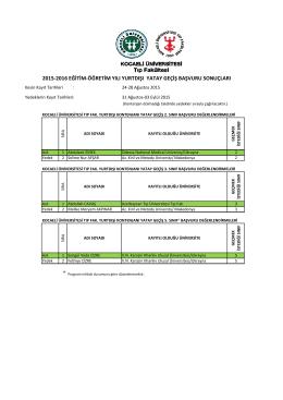 2015‐2016 eğitim‐öğretim yılı yurtdışı yatay geçiş başvuru sonuçları