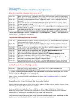 Meslek Yüksekokulu 2014-2015 Öğretim Yılı Bahar Dönemi Staj