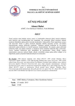 GÜNEŞ PİLLERİ Ahmet Bulut - Ondokuz Mayıs Üniversitesi