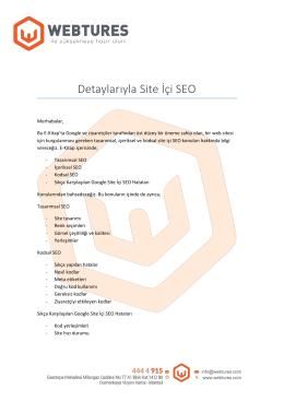 Detaylarıyla Site İçi SEO