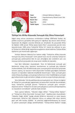 Türkiye`nin Afrika Kıtasında Yumuşak Güç Olma Potansiyeli