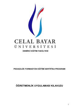 öğretmenlik uygulaması kılavuzu - Celal Bayar Üniversitesi Eğitim