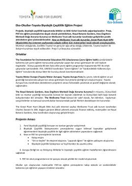 Eko-Okullar-Toyota Biyolojik Çeşitlilik Eğitim Projesi Ortaklar