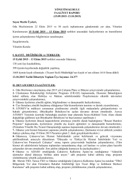 EKİM Ayı Yönetim Kurulu Faaliyet Raporu için