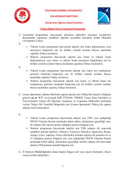 Türkçe Eğitim Veren Lisansüstü Programların Kabul Kriterleri