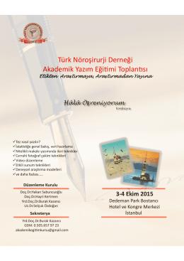 Türk Nöroşirurji Derneği Akademik Yazım Eğitimi Toplantısı