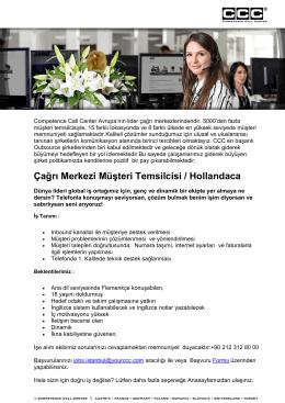Çağrı Merkezi Müşteri Temsilcisi / Hollandaca