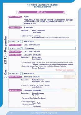 5 Kasım 2015 - Perşemb e - 59. türkiye milli pediatri kongresi