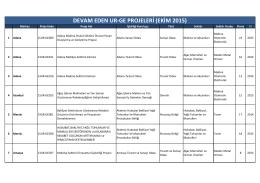 DEVAM EDEN UR-GE PROJELERİ (EKİM 2015)