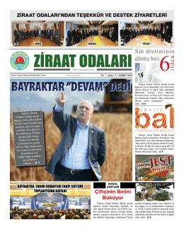"""BAYRAKTAR """"DEVAM"""" DEDİ - Türkiye Ziraat Odaları Birliği"""