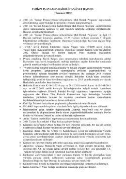 TURİZM PLANLAMA DAİRESİ FAALİYET RAPORU ( Temmuz 2015
