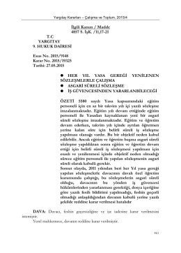 İlgili Kanun/md: - Çalışma ve Toplum