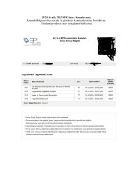 19/20 Aralık 2015 SPK Sınav Sonuçlarımız. Kazandı Belgesini bize