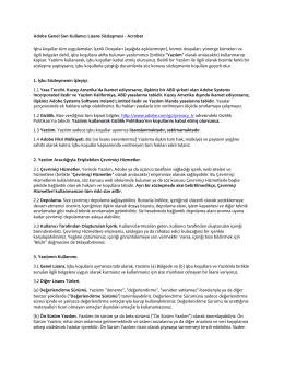 Adobe Genel Son Kullanıcı Lisans Sözleşmesi