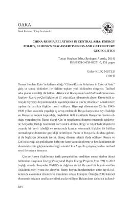 184 CHINA-RUSSIA RELATIONS IN CENTRAL ASIA: ENERGY