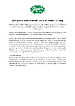 Türkiye`nin en sevilen süt ürünleri markası: Sütaş