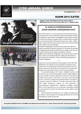 Kasım 2015 İletisi - ÇYDD Ankara Şubesi
