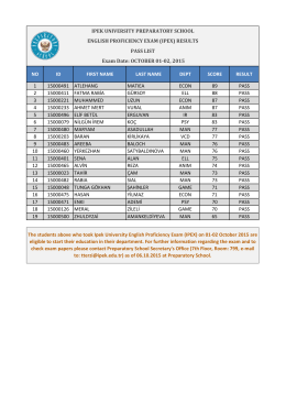 1-2 Ekim 2015 tarihli İngilizce Yeterlik Sınavı (IPEX)