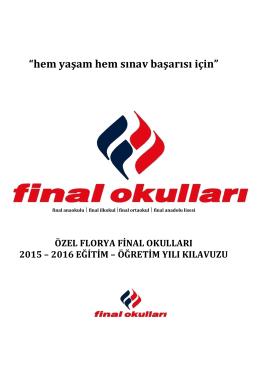 özel florya final okulları 2015-2016 eğitim öğretim yılı kılavuzu