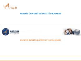 Akdeniz Üniversitesi Enstitü Başvuru Kullanım Kılavuzu