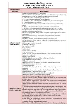 2014-2015 eğitim-öğretim yılı ali kale ve kardeşleri