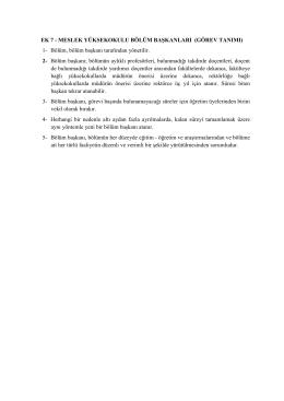 EK 7 MESLEK YÜKSEKOKULU BÖLÜM BAŞKANLARI (GÖREV