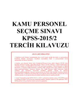 2015-kpss/2 tercih kılavuzu