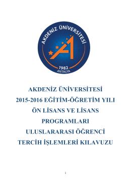 akdeniz üniversitesi 2015-2016 eğitim-öğretim yılı ön lisans