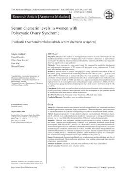 Serum chemerin levels in women with Polycystic Ovary Syndrome