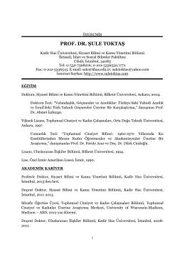 PROF. DR. ŞULE TOKTAŞ - Kadir Has Üniversitesi