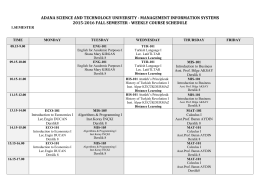 weekly course schedule