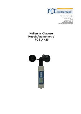 Kullanım Kılavuzu Kupalı Anemometre PCE-A 420