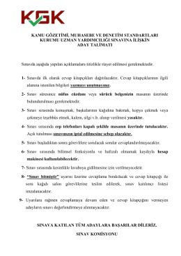 Uzman Yardımcılığı Giriş Sınavı Aday Talimatı(02.10.2015)
