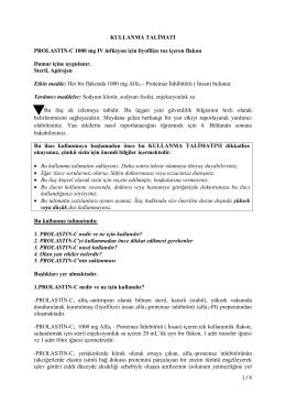 KULLANMA TALİMATI PROLASTIN-C 1000 mg IV