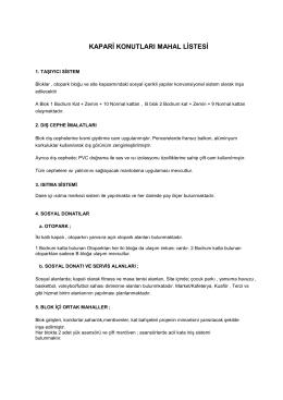Bina Bilgileri - Kapari Konutları Site Yönetim Sistemi