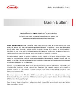16 Aralık 2015 - Takeda Solunum Portföyünün Astra Zeneca`ya