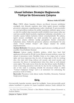 Ulusal İstihdam Stratejisi Bağlamında Türkiye`de Güvencesiz Çalışma