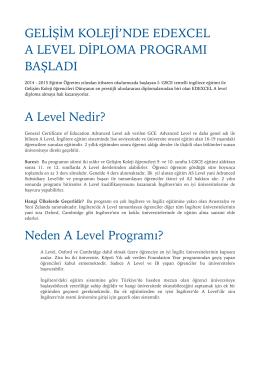 EDEXCEL PROGRAM - Gelişim Koleji