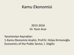Kamu Ekonomisi Analizi Ders Notları